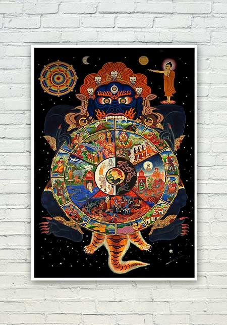 Lord Buddha Cycle Of Life Painting Poster