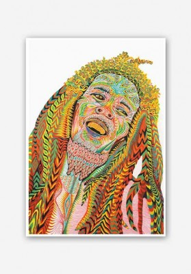 Bob Marley Psychedelic Art Poster